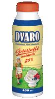DVARO sterilizuota plakamoji grietinėlė, 35 %, 450 ml